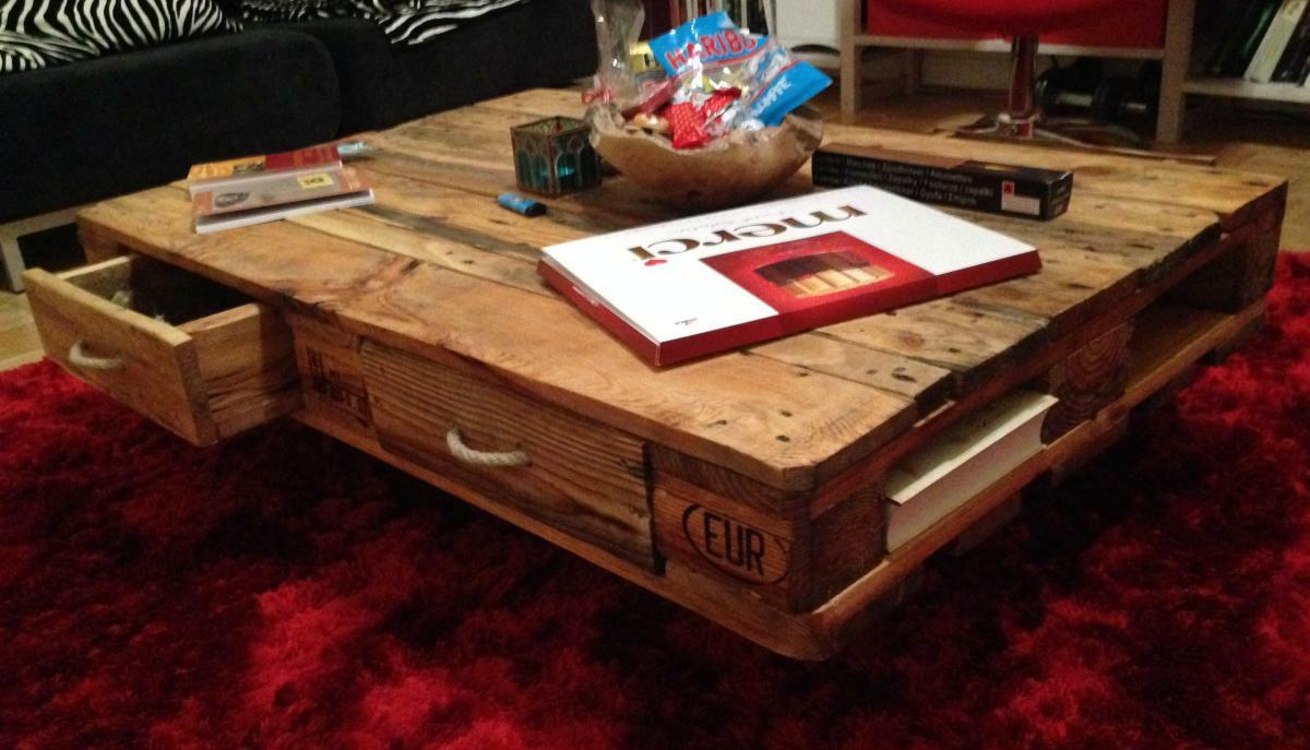 Couchtisch Round Pallet Table: Coffee/couch Table From Euro Pallets Diy