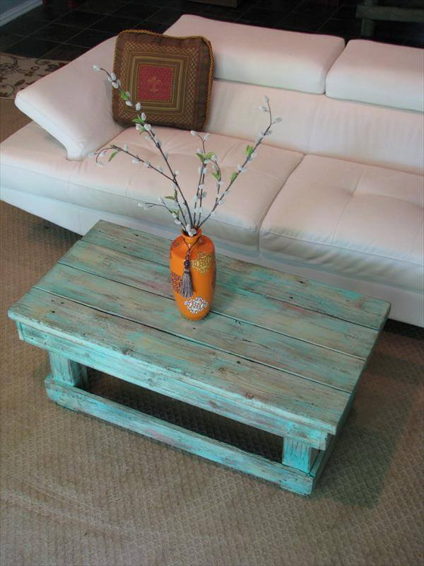 Hairpin Legs Couchtisch Diy Aqua Pallet Coffee Table | Pallet Furniture Diy
