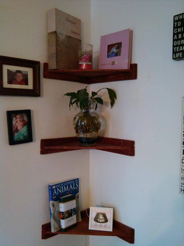 Pallet Living Room Corner Shelves Pallet Furniture DIY - living room corner shelf
