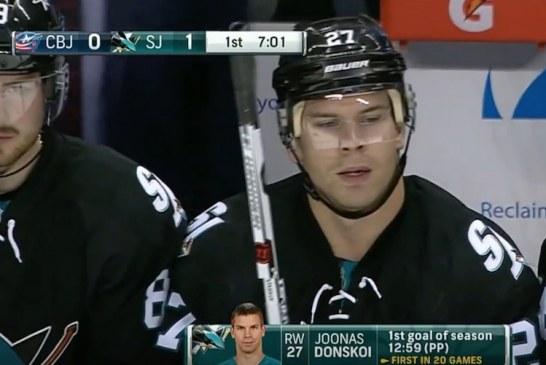 Video: Joonas Donskoi iski kauden ensimmäisen maalinsa NHL:ssä