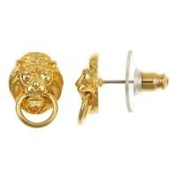 Lion Doorknocker Stud Earrings, 18Kt Gold Plated  Palm ...