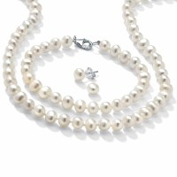 3 Piece Cultured Freshwater Pearl Necklace Bracelet and ...