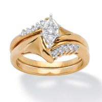 1/5 TCW Round Diamond 10k Yellow Gold 2-Piece Bridal ...