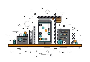 Thin line flat design of mobile apps construction site smartphone user interface building process api coding for phone application. Modern vector illustration concept isolated on white background.