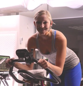 Revolutions instructor Erin in the cycling studio