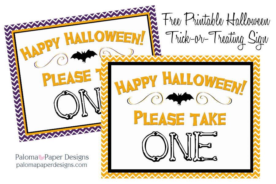 Halloween Trick-or-Treat Printable Paloma Paper Designs