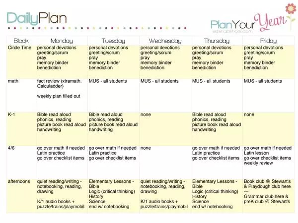 How to Plan a Week with a Sample Homeschool Schedule - sample planning calendar