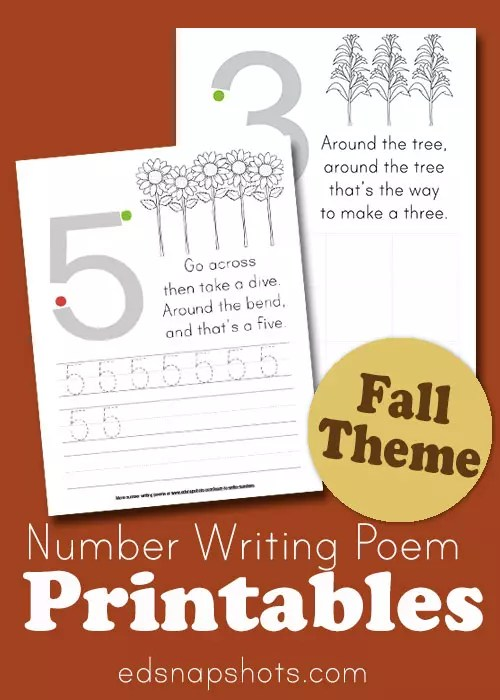 Learn to Write Numbers Autumn Theme Printables