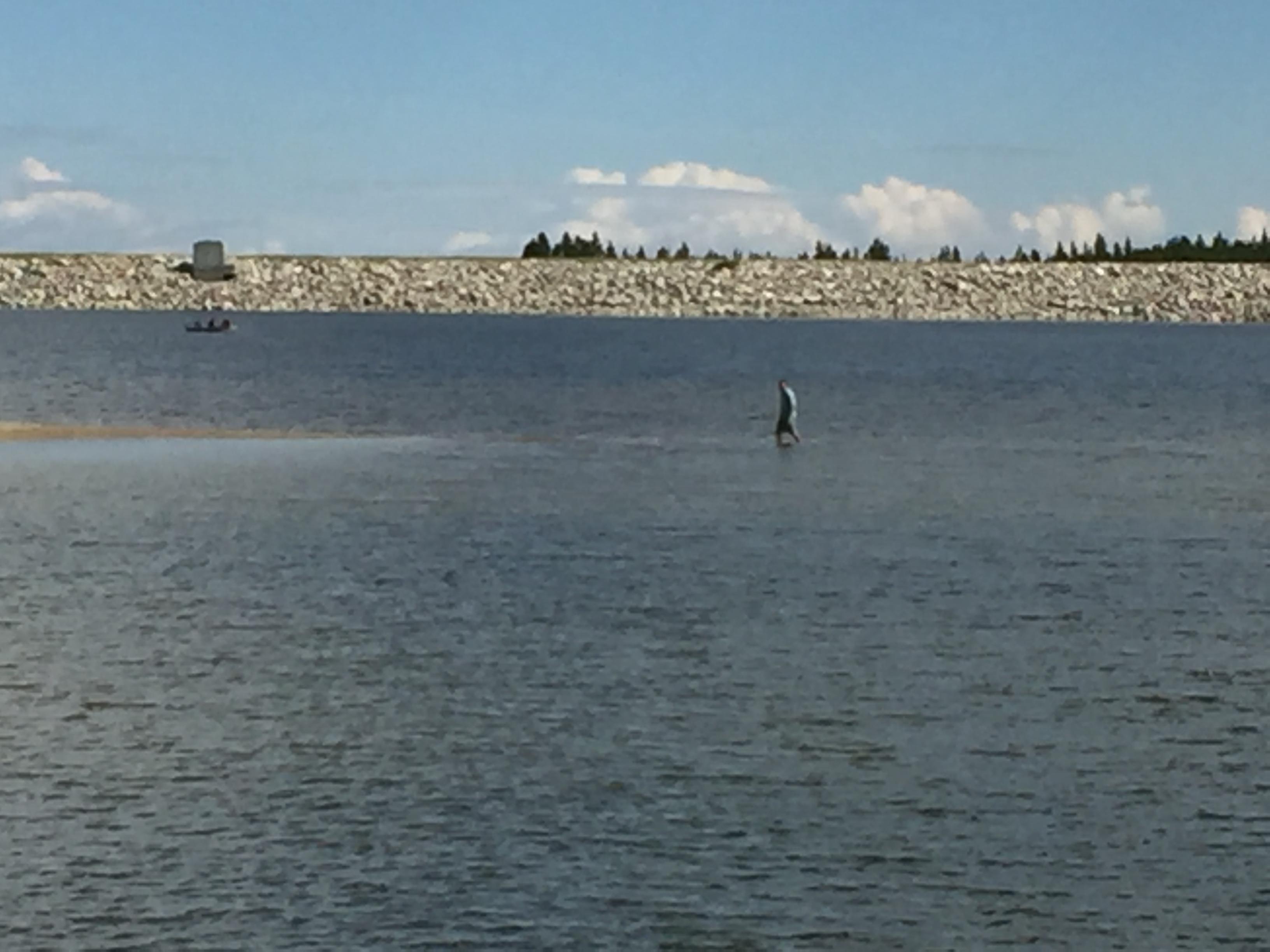 eric walking on water park reservoir
