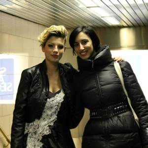 "Pamela Quinzi with Italian Singer Emma Marrone on video music set ""Io sono per te 'amore"" in New York. Emma is wearing Kilame dress and shoes"