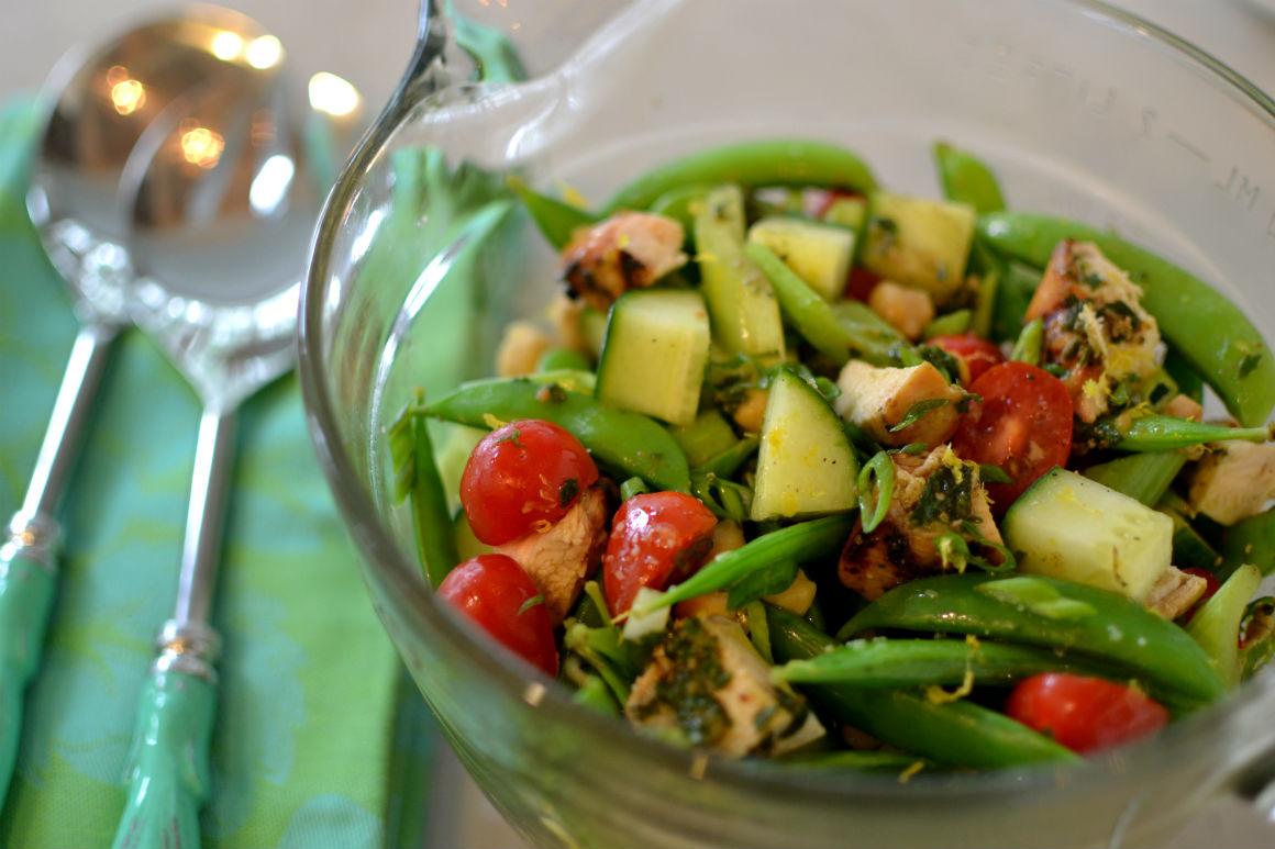 Chicken salad with pesto and garden vegeatbles
