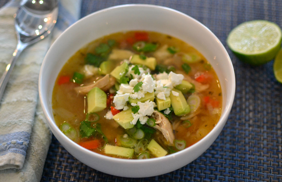Chicken Soup with Lime and Avocado