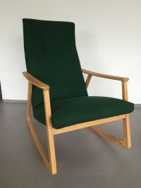 Padded Felt Rocking Chair, 1960s for sale at Pamono