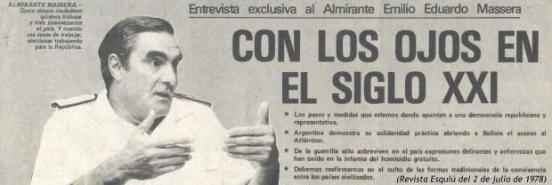 Almirante Eduardo Massera en Esquiú 2-7-78