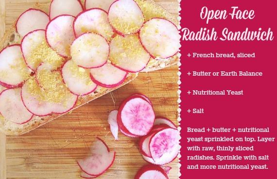 Open Face Radish Sandwich