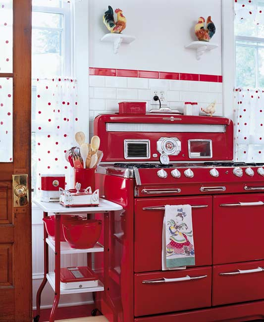 Cuisine Vintage Red Retro Kitchen - Panda's House