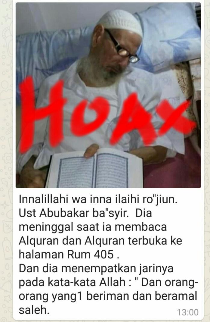 Berita hoax Ustadz Abu Bakar Ba'asyir meninggal