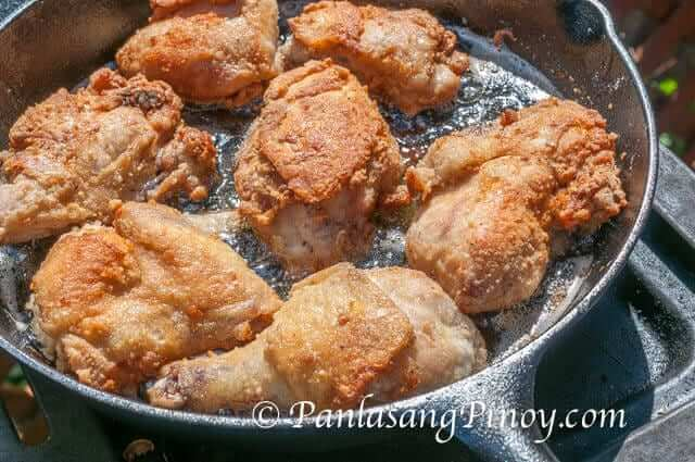 Pinoy Style Fried Chicken frying