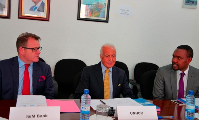 Mr. Robin Bairstow, The Managing Director of I&M Bank (Rwanda) Limited; Mr. Saber Azam, UNHCR Representative in Rwanda and Mr. Moses Abindabizemu, The Marketing Director of Airtel Rwanda. (Photo/Courtesy)