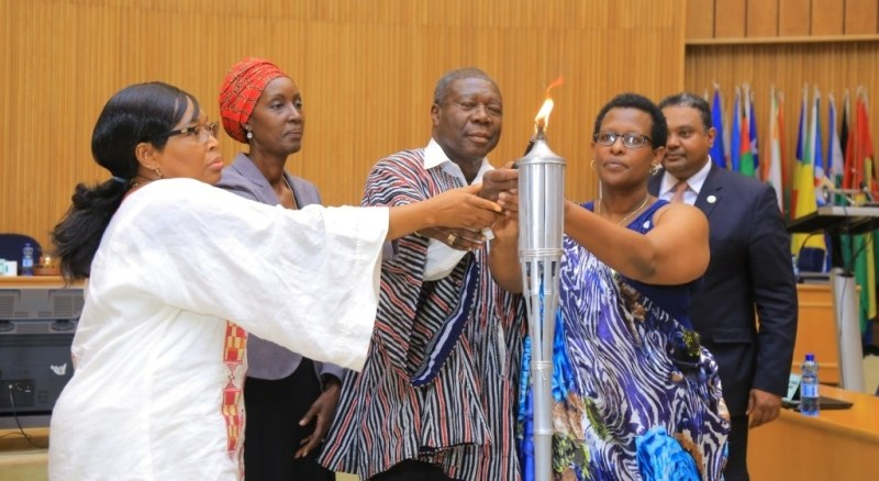 Lighting the flame of hope and laying of wreath at Addis Ababa, in the 23rd commemoration of the 1994 Genocide against the Tutsi in Rwanda. (Photo/Courtesy)