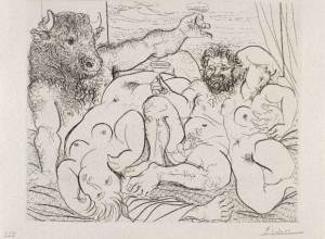 Escena báquica con Minotauro (1933) de Picasso, perteneciente a la Suite Vollard