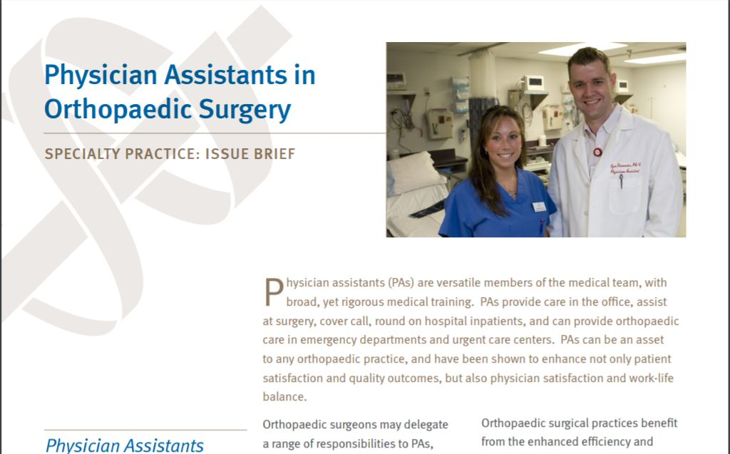 Document Library - Physician Assistants in Orthopaedic Surgery