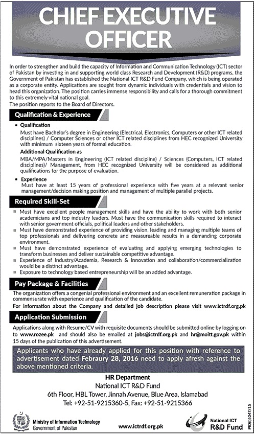 NICT CEO-Jang Pakistan Jobs