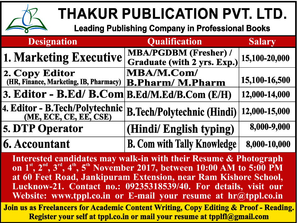 Copy Editor Job in Lucknow - Marketing/Advertising - TimesAscent