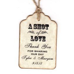 Pretty Personalized Shot Love Wedding Favor Tags Place Cards Thank Shot Glass Tags Liquor Or Wine Bottle Labels Vintage Style Paperand Personalized Shot Love Wedding Favor Tags Place Cards
