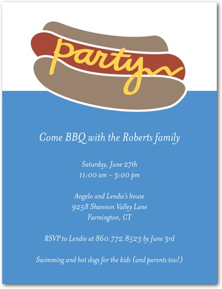Hot Dog Summer Party Invitations