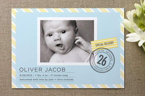 Special Delivery Birth Announcements by J. Bartyn Design
