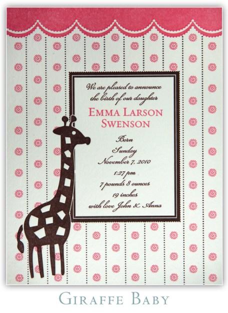 Giraffe Baby Letterpress Birth Announcement