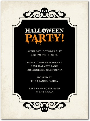 Skeleton Swirls Halloween Party Invitations - Paper Crave - invitation for halloween party