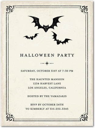 Vintage Bats Halloween Party Invitations - Paper Crave - halloween invitation