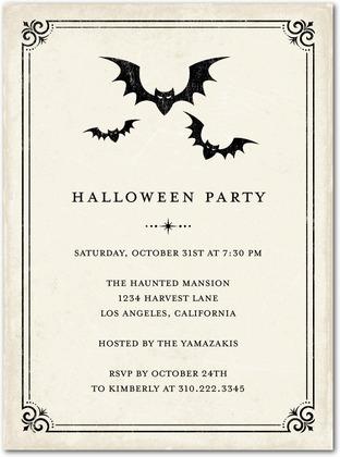Vintage Bats Halloween Invitations