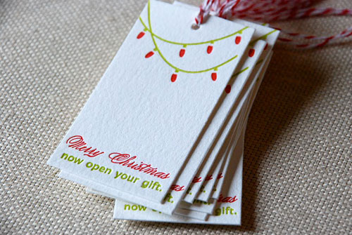 Cartoules Letterpress Merry Christmas Gift Tags