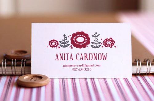 Free Printable Calling Card Burgundy Gray