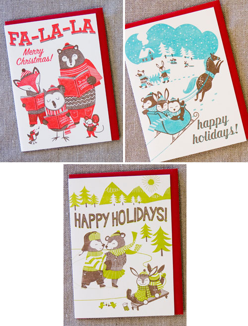 Hello! Lucky Letterpress Holiday Cards