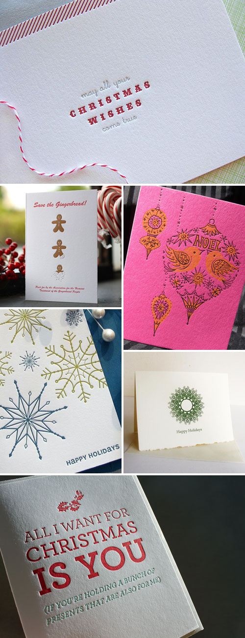 Letterpress Holiday Christmas Cards