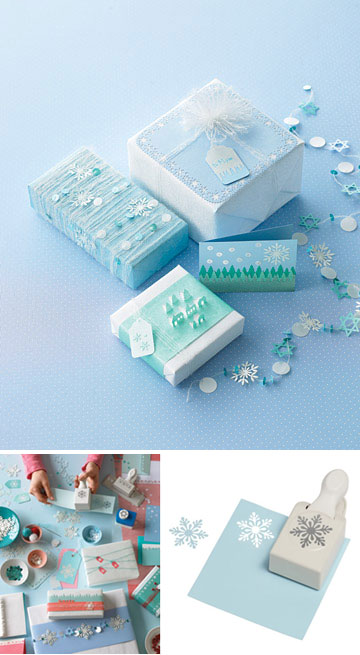 Martha Stewart Punched Snowflake Gift Wrap Idea