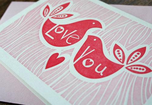 Paper Parasol Letterpress Love You Bird Card