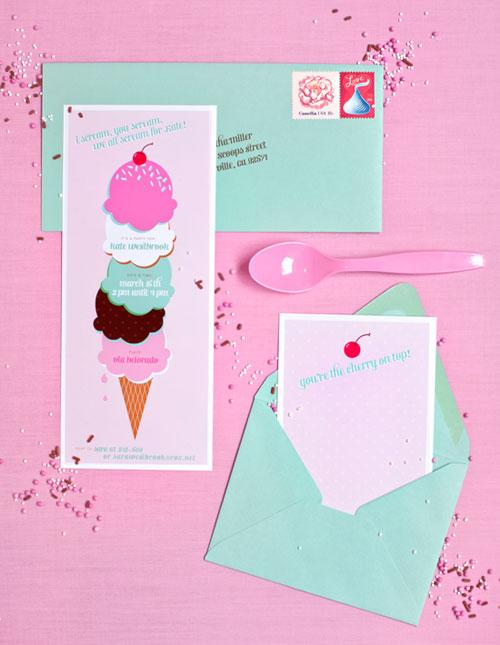 Printable Ice Cream Party Invitations
