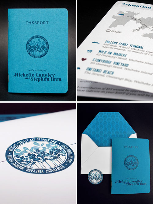 Teal Booklet Passport Style Wedding Invites