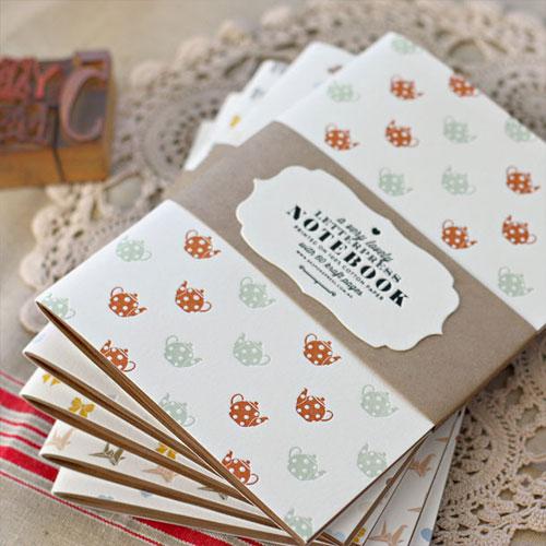 Bespoke Teapots Letterpress Patterned Notebook