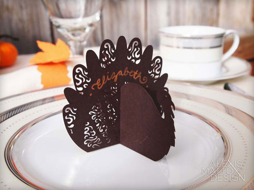 Laser Cut Turkey Place Card