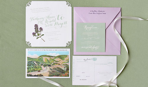 Thyme Embellished Wedding Invitations