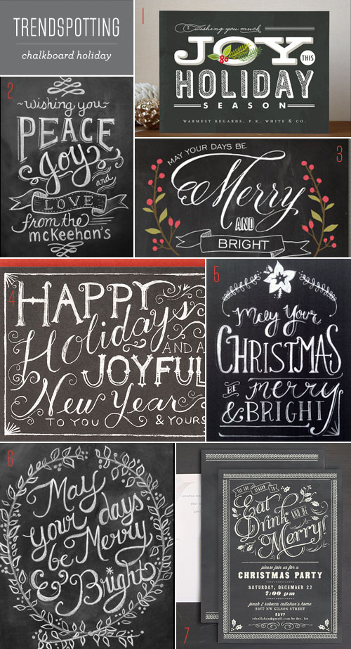 Trendspotting Chalkboard Holiday Cards + Invitations