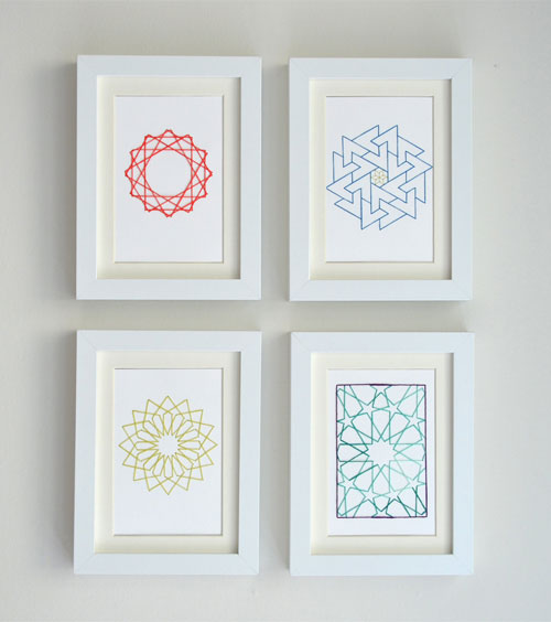 Embroidered Geometric Cards by Koto Designs