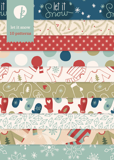 Let It Snow Printable Patterned Papers
