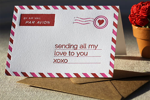 Letterpress Airmail Valentine's Day Card
